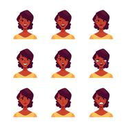 Set of african woman face expression avatars Stock Illustration