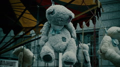 Hanged Teddy Bear. Halloween Horror Footage Stock Footage