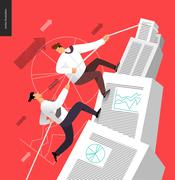 Climbing up in a stack of accounting documents Stock Illustration