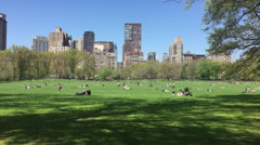 Spring in Manhattan. People in New York City lay out, relax and enjoy the sun Stock Footage