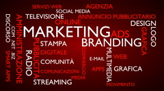 Marketing, branding word tag cloud - red, Italian variant Stock Footage