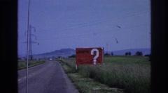 1967: jnpr sign along a rural highway. FRANCE Stock Footage