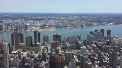Aerial view of the east side of Manhattan  New York City apartments and Stock Footage