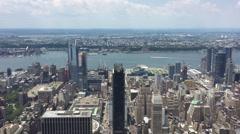 Aerial view of western Manhattan New York City Javitz Center, Hudson Rail Yards, Stock Footage