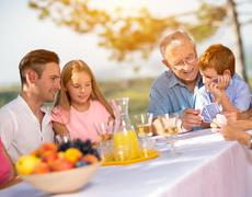 Leisure time family in countryside. Stock Photos