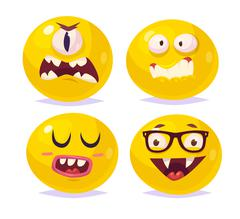 Smiles set of characters. Vector cute cartoons Stock Illustration