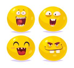 Smiles set of characters. Vector cute cartoons Piirros