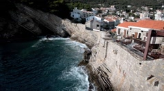 The sea and the citadel in Petrovac, Montenegro Stock Footage