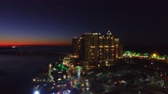 Destin – Florida. Amazing night aerial skyline Stock Footage