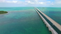 Florida Keys, amazing aerial view of Overseas Highway on a sunny day Stock Footage