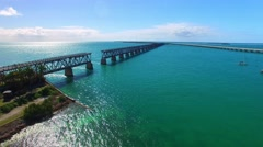 Stunning aerial view of Bahia Honda State Park in Florida Keys, USA Stock Footage