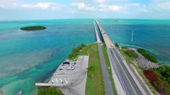 Florida Keys aerial view of Overseas Highway Bridge Stock Footage