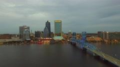 JACKSONVILLE, FL Amazing aerial city skyline at dusk. Stock Footage