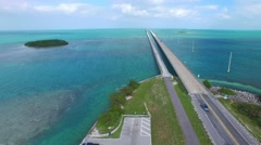 Bridge on the Overseas Highway – Florida aerial view Stock Footage