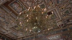 Chandelier and Decorated Ceiling in Frederiksborg Palace in Denmark Stock Footage