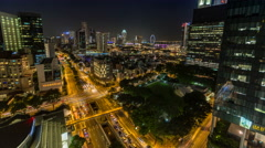 Downtown Singapore, Asia Cityscape Night Timelapse with Traffic 4K UHD Stock Footage
