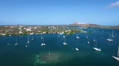 Aerial overview shot of sailing boats moored at Spanish Water in Curacao Stock Footage