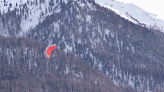 Close up of the kite of a young snowkiter Stock Footage