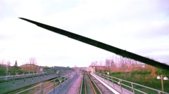 A trip on train , spring day in a nordic city Stock Footage