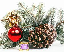 New year celebration, Christmas holiday stuff, tree, toys, decor Stock Photos