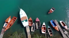 Aerial overview shot of fishing boats at Spanish Water in Curacao Stock Footage