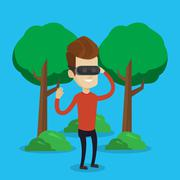 Man wearing virtual reality headset in the park Stock Illustration
