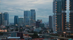 Traffic during the blue hour in Jakarta, Indonesia capital city. Stock Footage