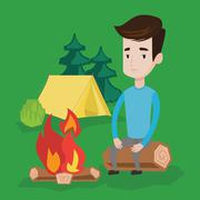 Man sitting on log near campfire in the camping Stock Illustration