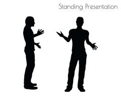 Man in Standing Presentation  pose on white background Piirros