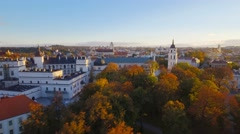 Lithuania, Vilnius architecture, Catedral square and Castle of Dukes aerial view Stock Footage