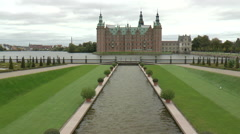 Distant View of Frederiksborg Castle from the Castle Gardens Stock Footage
