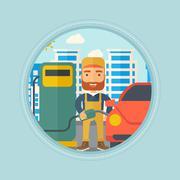 Worker filling up fuel into car Stock Illustration