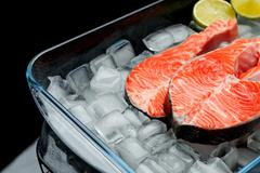 Fresh Raw Salmon Red Fish Steak Stock Photos
