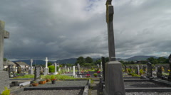 The tombs inside the big cemetery in  Ireland Stock Footage