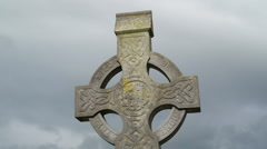 Big cross tomb inside the cemetery Ireland Stock Footage