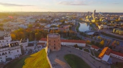 Lithuania, Vilnius, old town and castle hill aerial view. Stock Footage