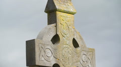 One of the cross stonehenge on the cemetery Ireland Stock Footage