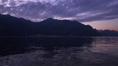 Evening on the Garda Lake between Mountais, Italy. Stock Footage