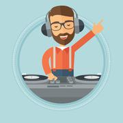 Smiling DJ mixing music on turntables Stock Illustration