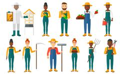Set of agricultural illustrations with farmers Stock Illustration
