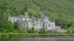 The beautiful Kylemore Abbey Monastery Ireland Stock Footage