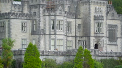 Closer look of the Kylemore Abbey in  Ireland Stock Footage
