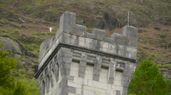 The tower of the Kylemore Abbey in  Ireland Stock Footage