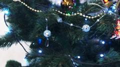Christmas Balls on Christmas Tree Stock Footage