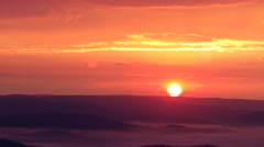 Dawn in the mountains, sunrise - telephoto shot Stock Footage