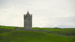 The Doonagore castle in Moher  Ireland Stock Footage