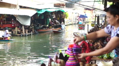 View of floating market canal best tourist landmark of Thailand Stock Footage