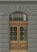 Facade with entrance door Stock Illustration