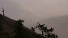 Dawn in the mountains, fog - telephoto shot Stock Footage