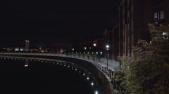 The night view in the baywalk side in Belfast  Ireland Stock Footage